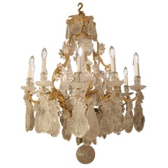 Unique and  Antique French Gilt Bronze Frame Rock Crystal 12-Arm Chandelier