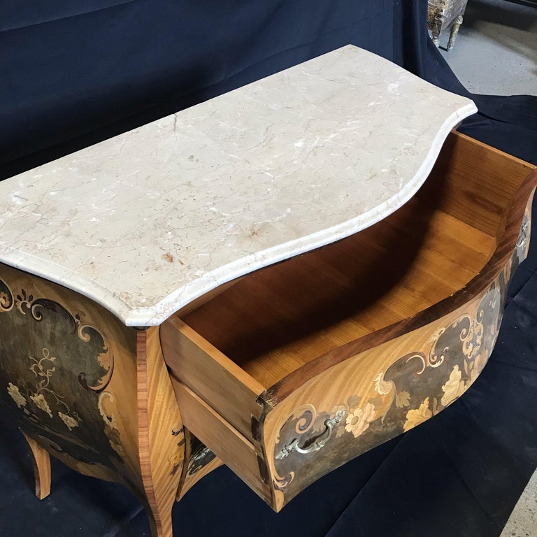 Fruitwood Beautiful French Marble Topped Louis XVI Bombe Commode with Intricate Marquetry For Sale