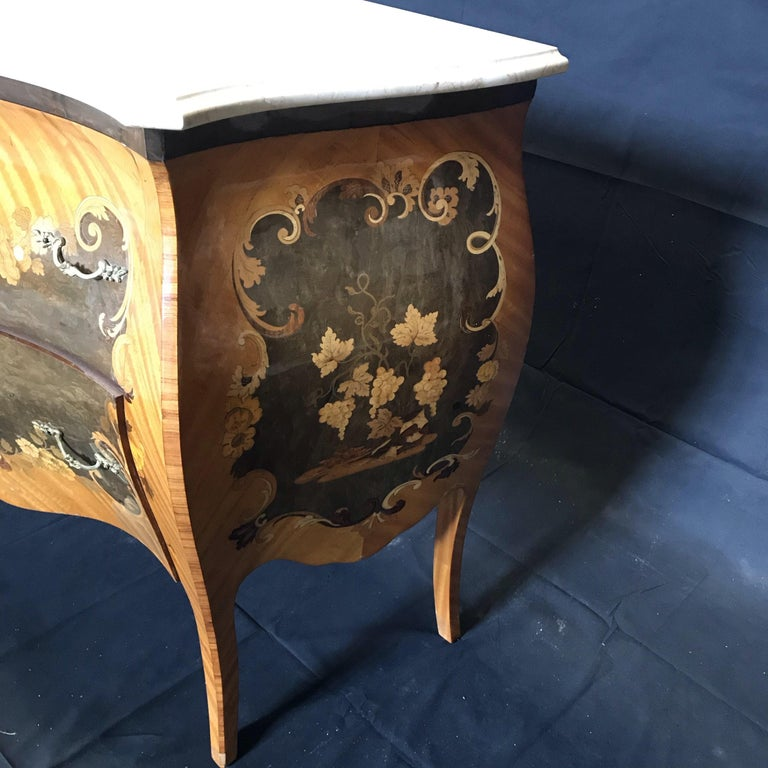 Beautiful French Marble Topped Louis XVI Bombe Commode with Intricate Marquetry For Sale 1