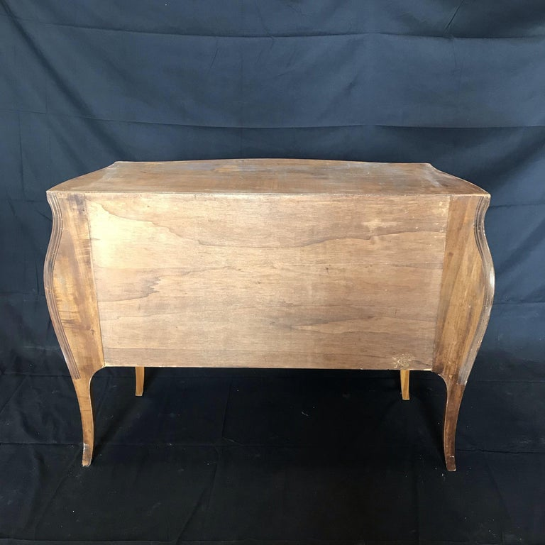 Beautiful French Marble Topped Louis XVI Bombe Commode with Intricate Marquetry For Sale 3