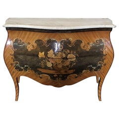 Beautiful French Marble Topped Louis XVI Bombe Commode with Intricate Marquetry
