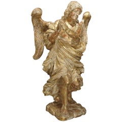 Beautiful French Parcel Paint and Giltwood Angel Statue