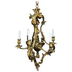 Beautiful French Rococo Doré Bronze Six-Light Elegant Chandelier Tassel Fixture