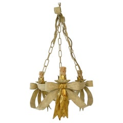 Beautiful French Tole Gold Bows Chandelier, circa 1940 Never Used