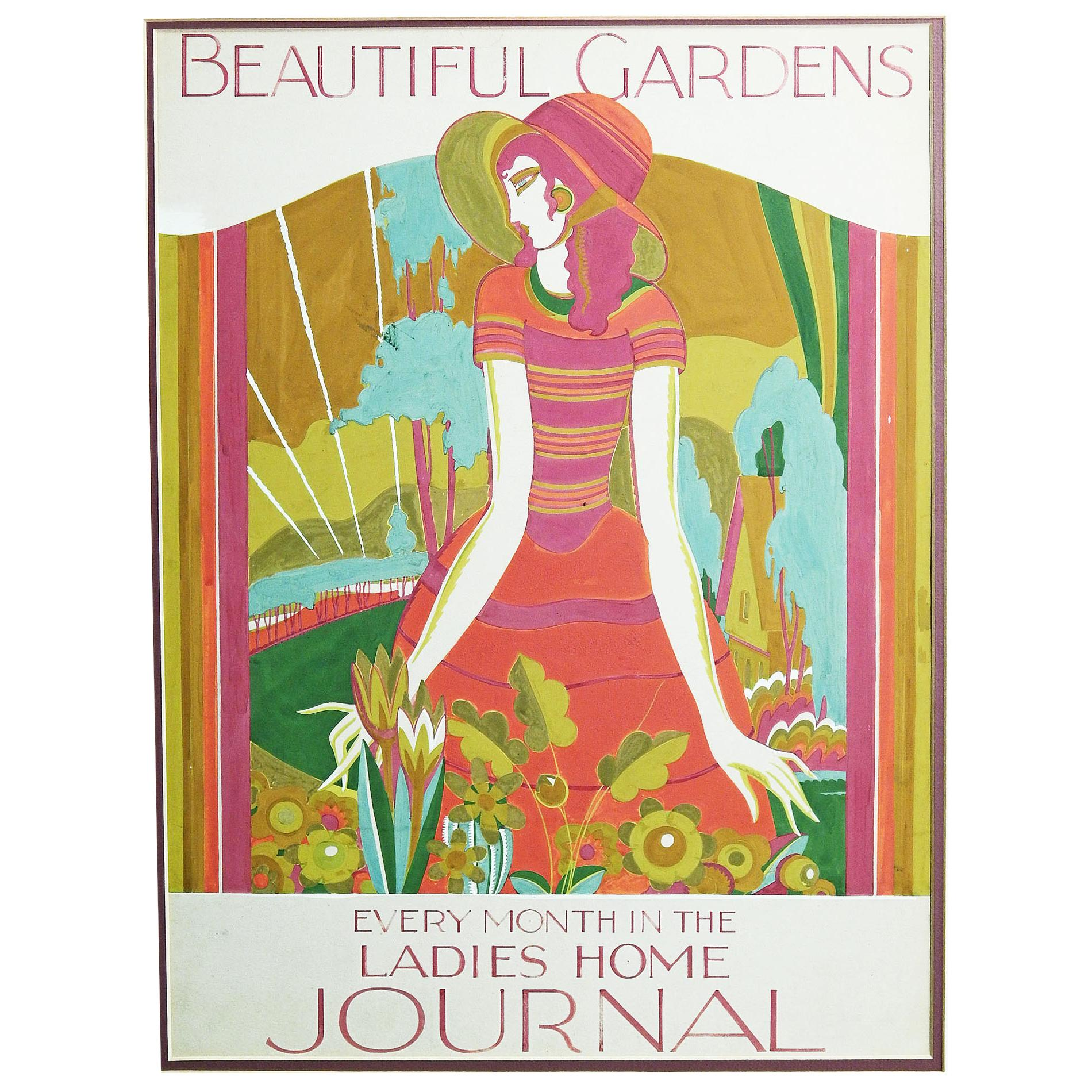 """""""Beautiful Gardens"""" Art Deco Painting for Ladies Home Journal, Horn and Hardart"""