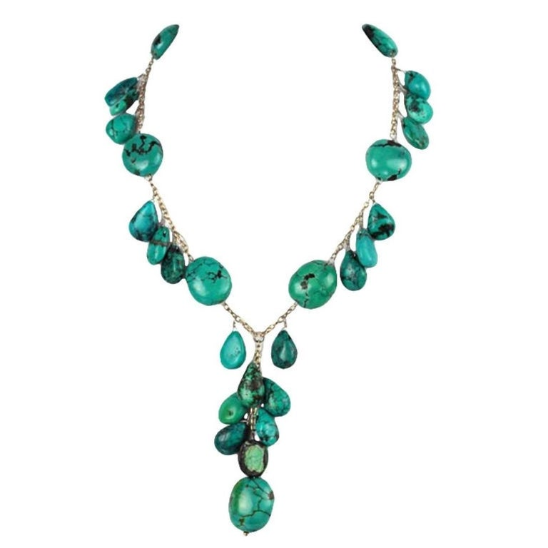 Mixed Cut Beautiful Genuine Turquoise and Sterling Silver 'Y' Necklace For Sale