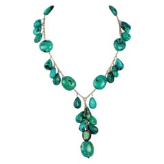 Beautiful Genuine Turquoise and Sterling Silver 'Y' Necklace