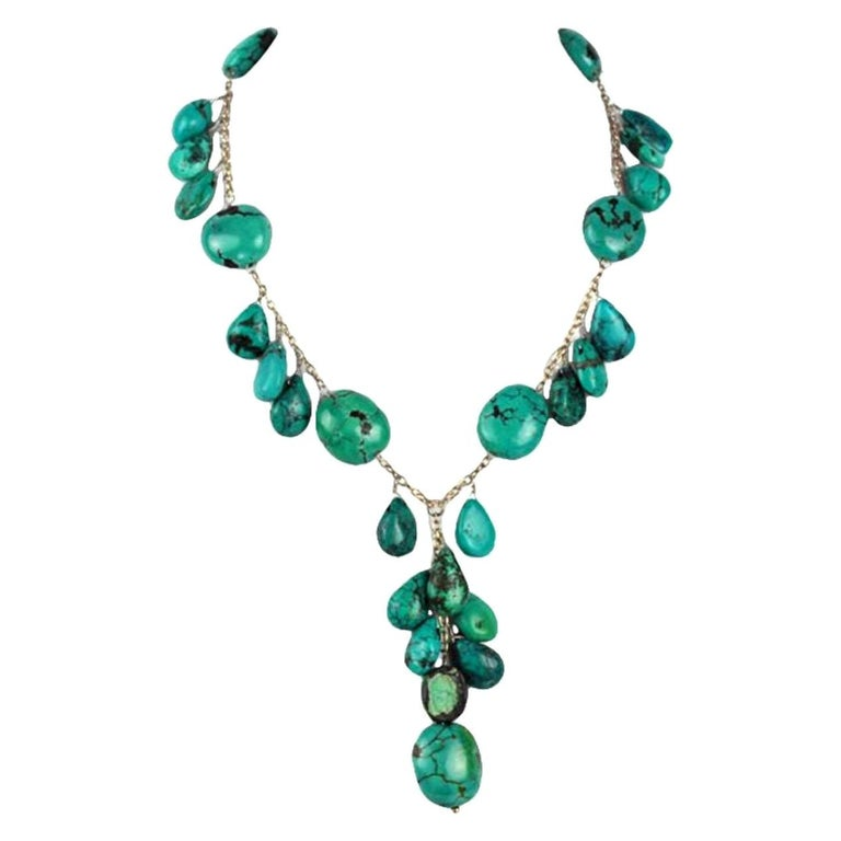 Beautiful Genuine Turquoise and Sterling Silver 'Y' Necklace For Sale