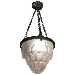 Beautiful Geometric 1920s Art Deco Glass Pendant Light Signed By Degue of France