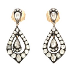 Georgian 3.71 Carat Diamond Drop Earrings