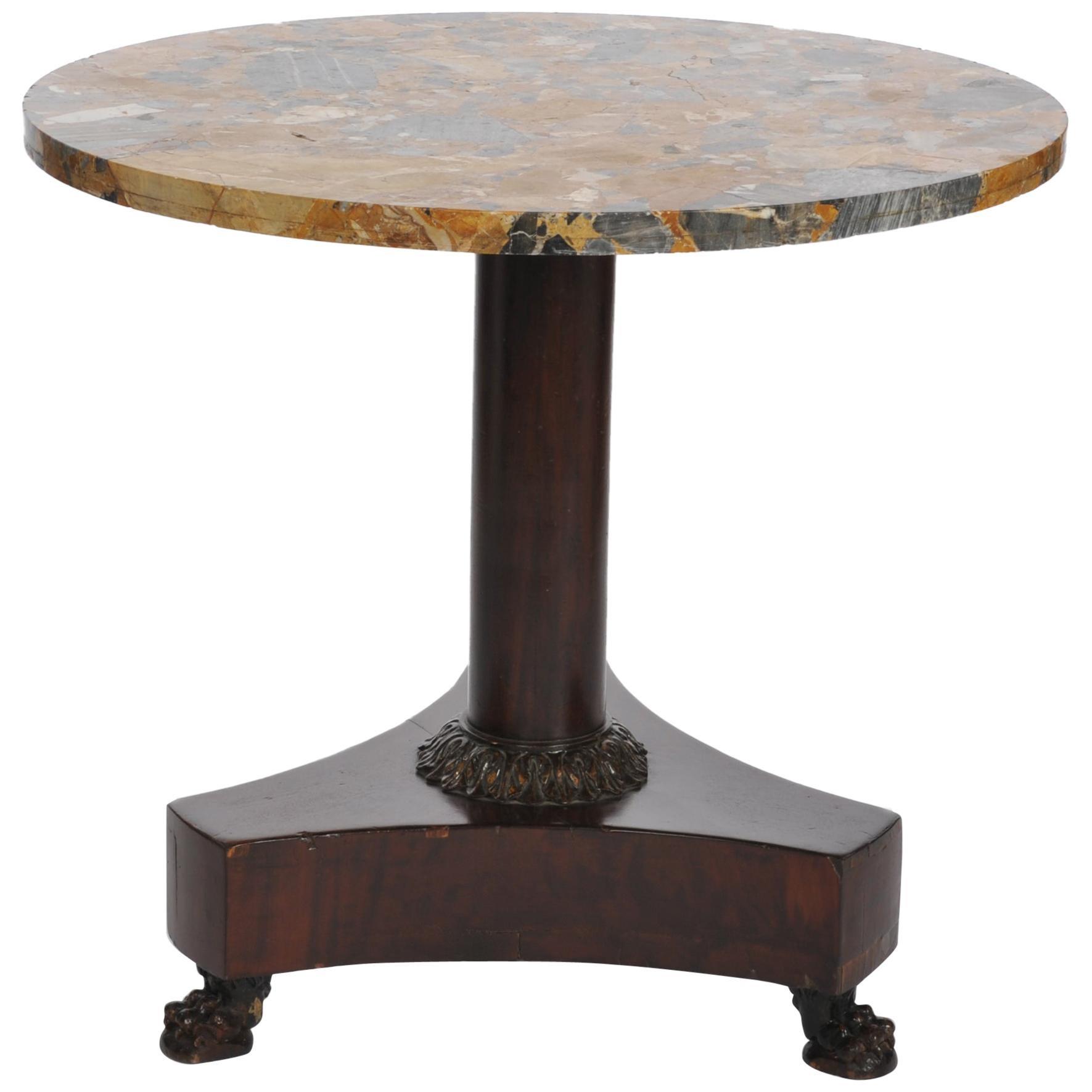 Beautiful German Empire Center Table, Solid Mahogany Base Grey-Ocher Marble Top