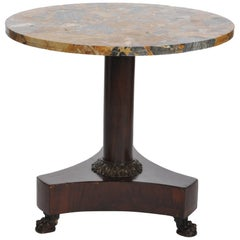 Beautiful German Empire Center Table, Solid Mahogany Base Grey-Ocher Marble Top