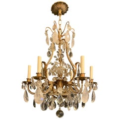 Beautiful Gilt Baguès Rock Crystal Jansen Leaf Basket Chandelier 6 Light Fixture