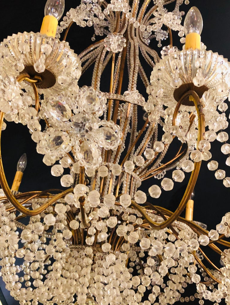 Beautiful Gilt Iron 12-Light Chandelier with Great Crystal and Bead Decoration For Sale 5