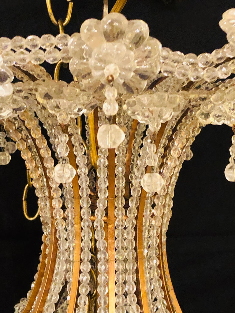 Beautiful Gilt Iron 12-Light Chandelier with Great Crystal and Bead Decoration For Sale 6