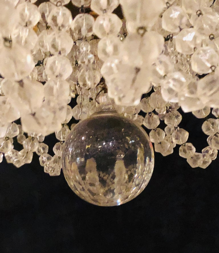 Beautiful Gilt Iron 12-Light Chandelier with Great Crystal and Bead Decoration For Sale 7