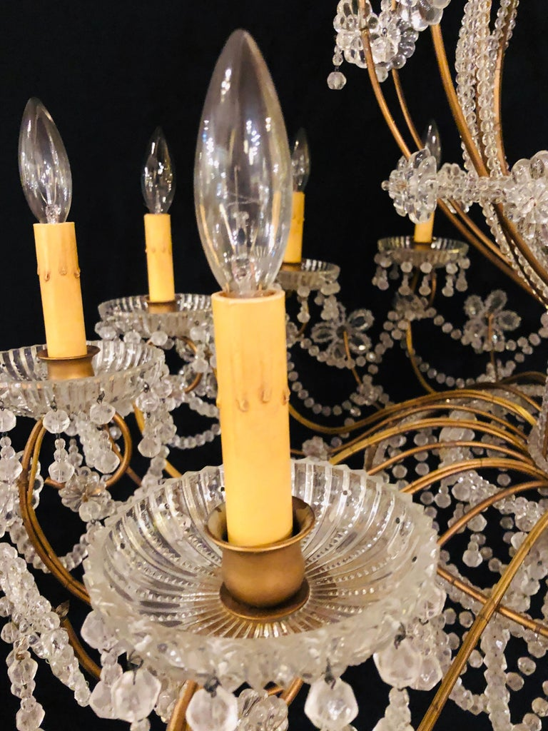 Beautiful Gilt Iron 12-Light Chandelier with Great Crystal and Bead Decoration For Sale 8
