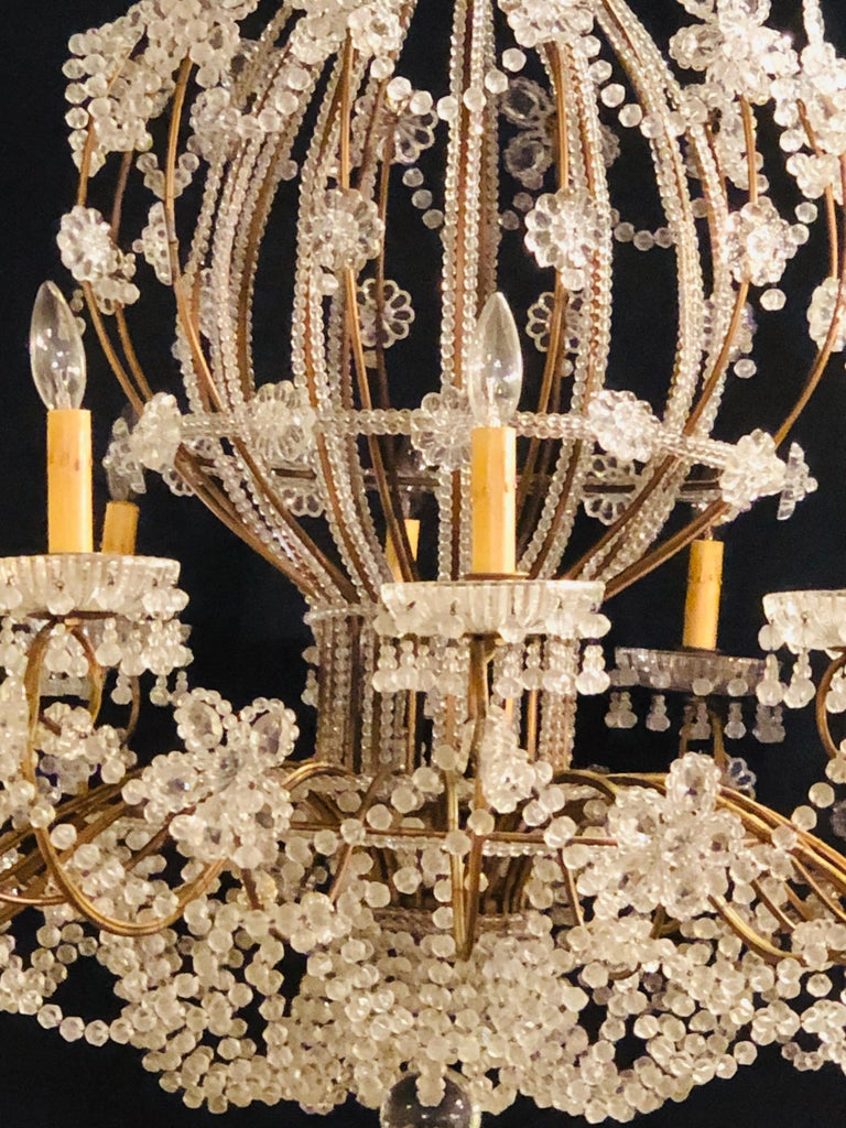 Beautiful Gilt Iron 12-Light Chandelier with Great Crystal and Bead Decoration In Good Condition For Sale In Stamford, CT