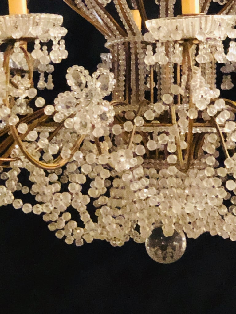 Beautiful Gilt Iron 12-Light Chandelier with Great Crystal and Bead Decoration For Sale 1