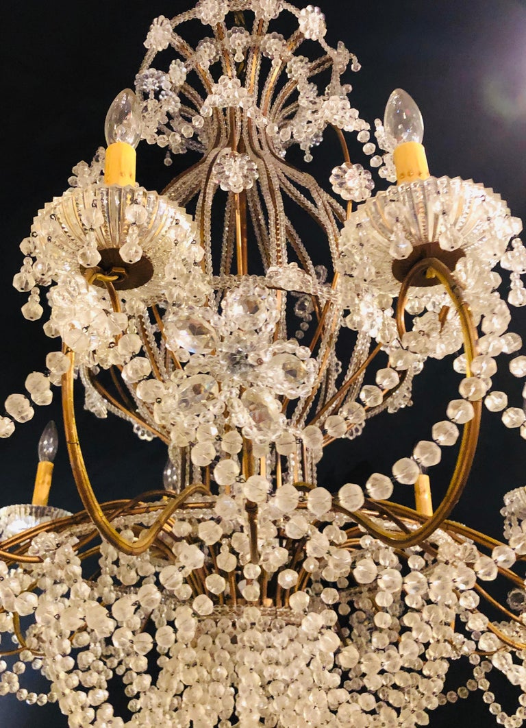 Beautiful Gilt Iron 12-Light Chandelier with Great Crystal and Bead Decoration For Sale 2