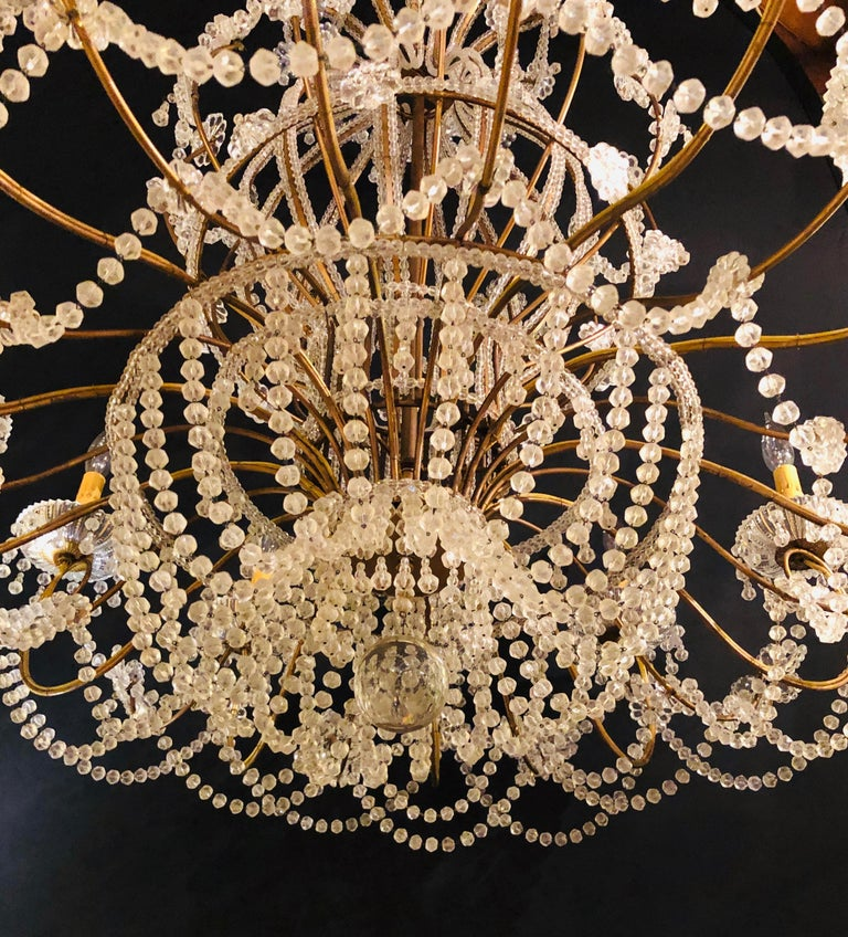 Beautiful Gilt Iron 12-Light Chandelier with Great Crystal and Bead Decoration For Sale 3