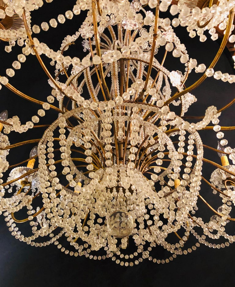 Beautiful Gilt Iron 12-Light Chandelier with Great Crystal and Bead Decoration For Sale 4