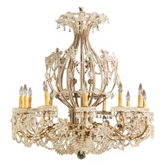 Beautiful Gilt Iron 12-Light Chandelier with Great Crystal and Bead Decoration