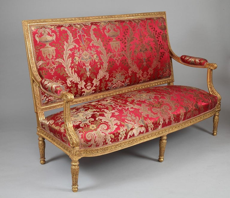 French Beautiful Giltwood Louis XVI style Sofa For Sale