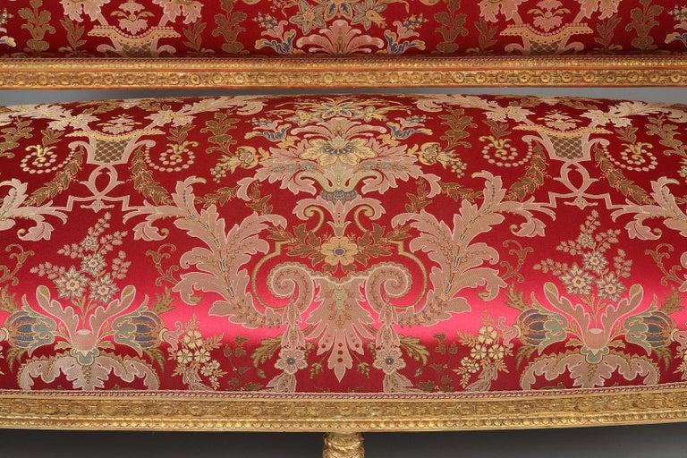 Silk Beautiful Giltwood Louis XVI style Sofa For Sale