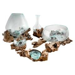 Beautiful Glass and Teak Ornamental Bowls, 20th Century