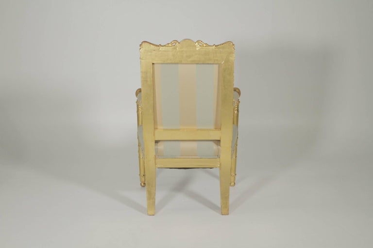 French Beautiful Gold Gilt Armchair, circa 1880-1900 For Sale