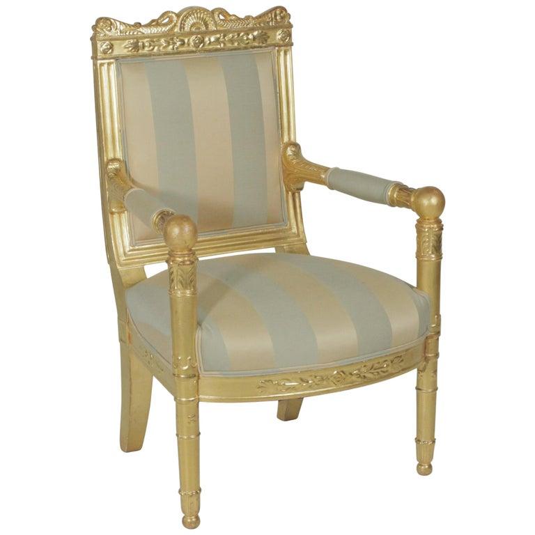 Beautiful Gold Gilt Armchair, circa 1880-1900 For Sale