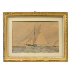 Beautiful Gouache on Paper Depicting a Sailing Yacht with Other Vessels
