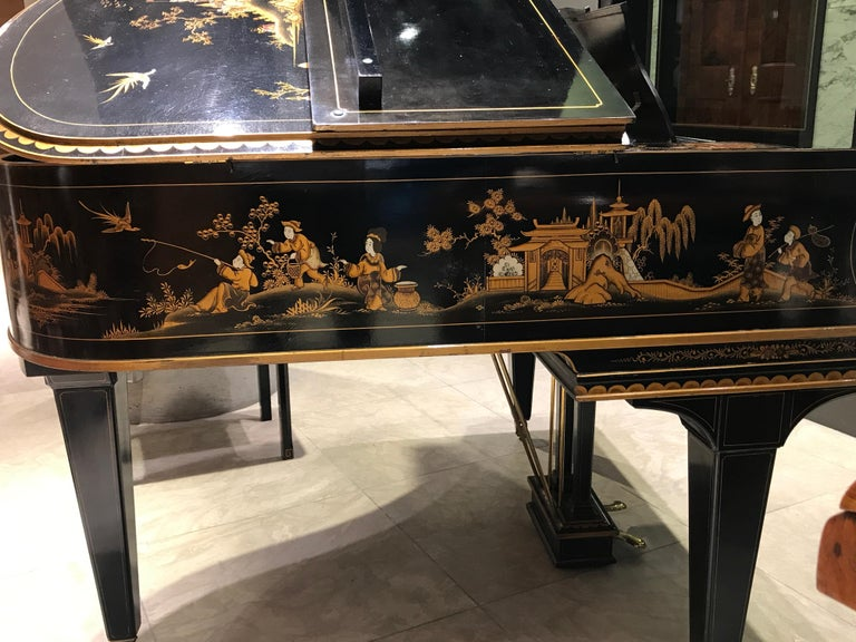 Baby Grand Piano, Art Deco with Chinoiserie Fairytale For Sale 5