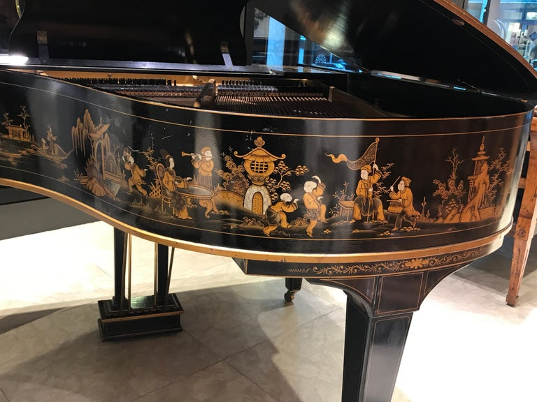 Baby Grand Piano, Art Deco with Chinoiserie Fairytale For Sale 6