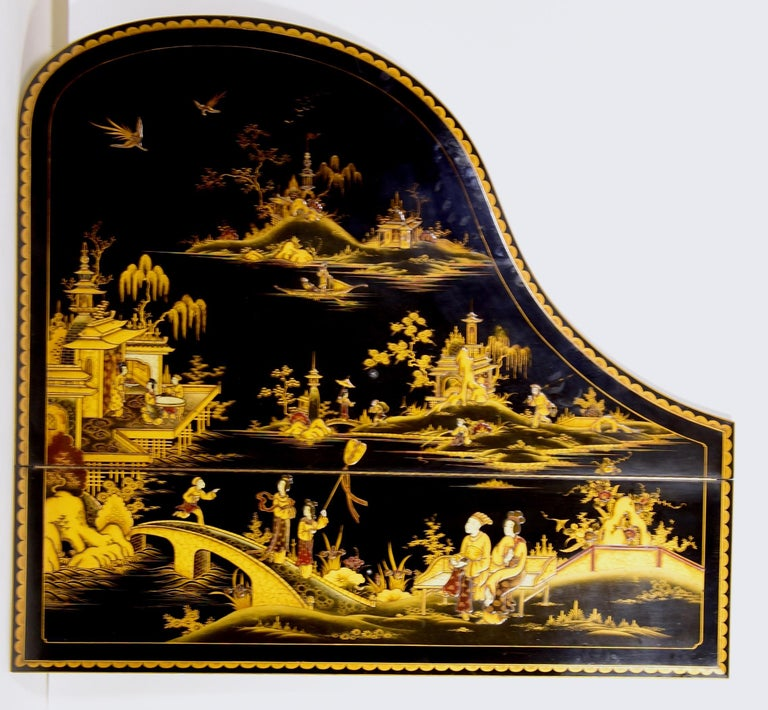Baby Grand Piano, Art Deco with Chinoiserie Fairytale For Sale 8