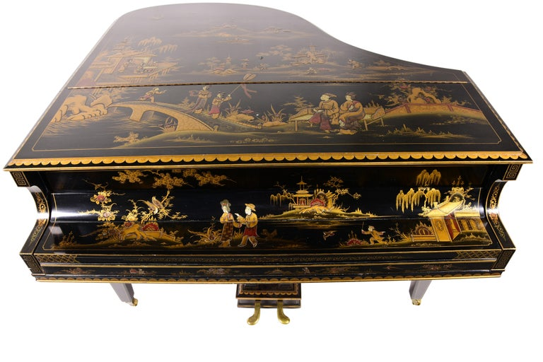 Baby Grand Piano, Art Deco with Chinoiserie Fairytale Rogers&Sons, London 1932  The chino series paintings on the Grand Piano represent the fairy tale of a poor fisherman's son who falls in love with a princess The father rejects the poor