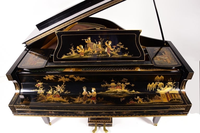 English Baby Grand Piano, Art Deco with Chinoiserie Fairytale For Sale