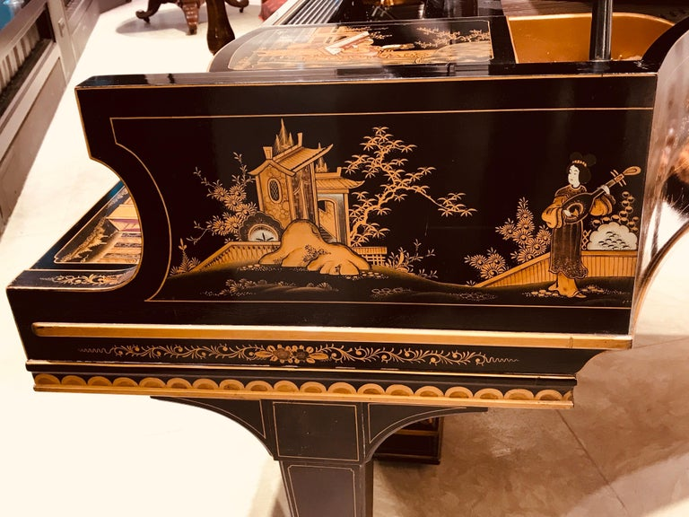 Baby Grand Piano, Art Deco with Chinoiserie Fairytale For Sale 2
