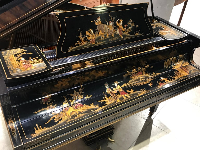 Baby Grand Piano, Art Deco with Chinoiserie Fairytale For Sale 3