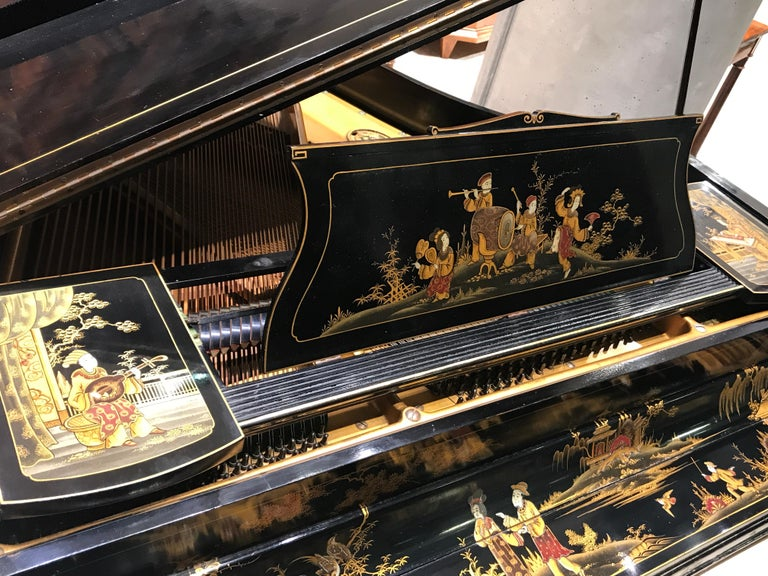 Baby Grand Piano, Art Deco with Chinoiserie Fairytale For Sale 4