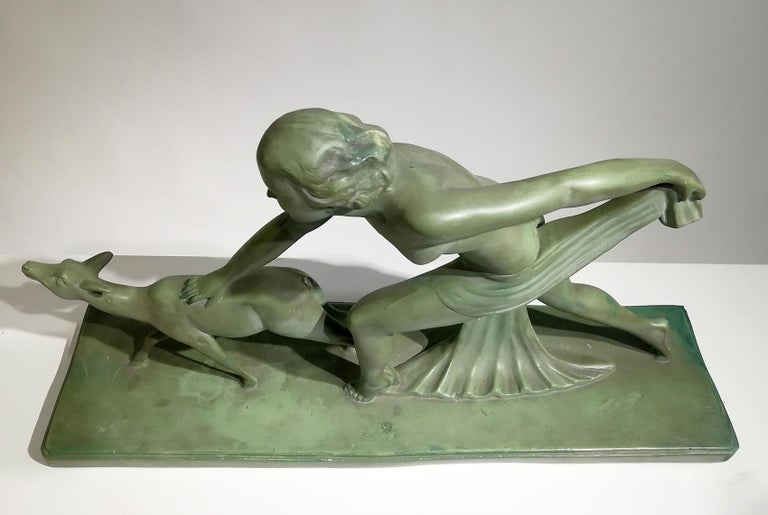 "Beautiful Green Terracotta Sculpture Signed ""S.Melanie"", circa 1920 For Sale 2"