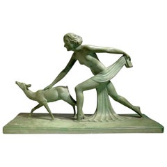 "Beautiful Green Terracotta Sculpture Signed ""S.Melanie"", circa 1920"
