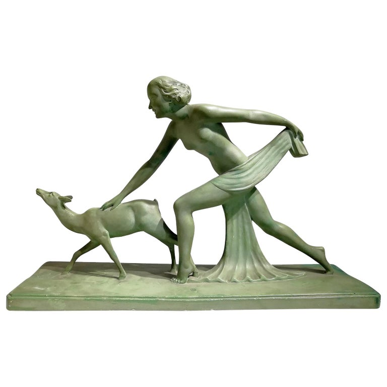"Beautiful Green Terracotta Sculpture Signed ""S.Melanie"", circa 1920 For Sale"