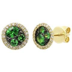 Beautiful Green Tsavorite Diamond Yellow Gold Halo Stud Earrings