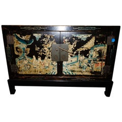 Beautiful Hand Painted Earl 20th Century Chinese Elmwood Chinoiserie Side Table