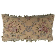 Beautiful Handmade Aubusson Pillow in Gold w/Pink Roses Blue Bows and Tassels