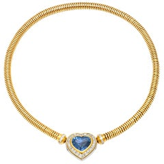Beautiful Hemmerle Sapphire and Diamond Heart Necklace