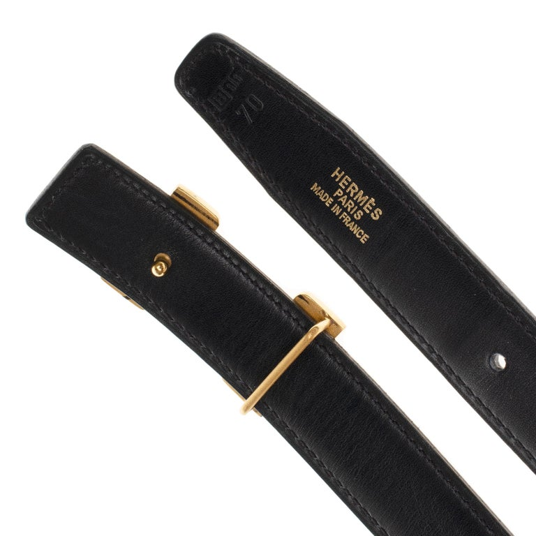 Black Beautiful Hermès belt in black calfskin and gold plated metal buckle For Sale