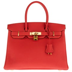 Beautiful Hermès Birkin 30 handbag in Red Togo leather, gold hardware